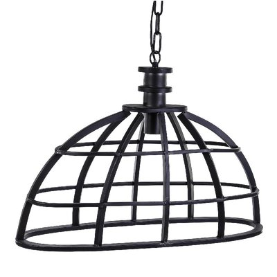 PTMD lamp - Denver grey metal hanging lamp ovale