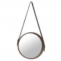 PTMD spiegel - Clyde brown leather mirror round S