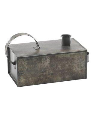 PTMD kandelaar - Bratis grey iron candelholder box with handle