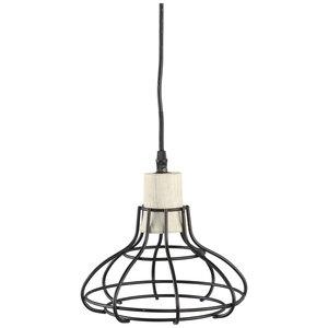 PTMD Lamp - Arkk Ironzwart hangend houten bovenkant